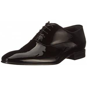 Boss Mens Evening Oxfr Oxford Shoes in Patent Leather with Grosgrain Piping Size 8 Black