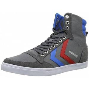 Hummel Slimmer Stadil Canvas, Unisex Adults' Hi-Top Sneakers, Grey (Castlerock/Red/Blue 0528), 12.5 UK