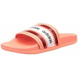 adidas Women's Adilette Comfort Sandal, Signal Coral/Collegiate Burgundy/Footwear White, 9 UK