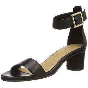 SELECTED FEMME Women's Slfmerle Leather Round Heel Sandal B Ankle Strap, Black (Black Black), 3 UK