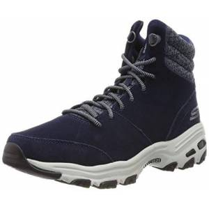 Skechers Women's D'lites - Chill Flurry Ankle boots, Blue Navy Suede Knit Nvy, 2 UK