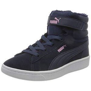 Puma Girls' Vikky V2 MID Fur V PS Sneaker, Peacoat-Peacoat-Pale Pink White, 10 UK