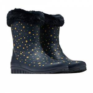 Joules Women's Chilton Rain Boot, Grey Leopard, 6 UK