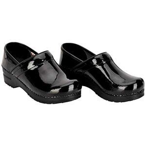Sanita Professional Patent Closed Clog Original Handmade Flexible Leather Clog for Women, Size: 2.5 UK, Black