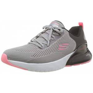 Skechers SKECH-AIR STRATUS, Girl's Low-Top Trainers, Grey (Black Mesh/Hot Pink Trim Gybk), 3 UK (36 EU)