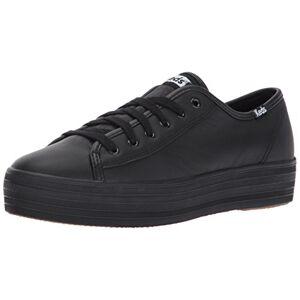 Keds Women's TRIPLE KICK LEATHER Sneaker, Black/Black, 6.5 UK