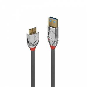 LINDY 36656 USB 3.0 Type A to Micro-B Cable, Cromo Line - Grey, 0.5m