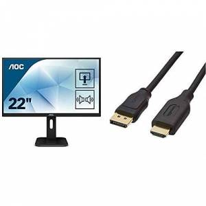 """AOC 22P1D 21.5"""" LCD Full HD (1920x1080) Height adjustable monitor with built in speakers (VGA, DVI, HDMI) & AmazonBasics DisplayPort to HDMI Cable - 0.9 m"""