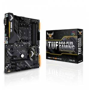 Asus TUF Gaming B450-PLUS ATX Motherboard, AMD Socket AM4, AM4, Ryzen 3000 Ready, PCIe 3.0, M.2, DDR4, LAN, HDMI, DVI-D, USB 3.1, Aura Sync RGB