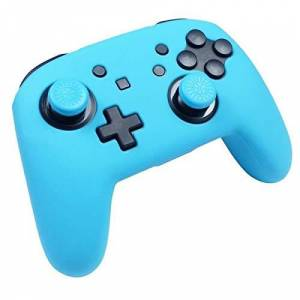 Subsonic Silicone Protective Cover for Nintendo Switch Pro Controller /Custom Kit Colorz with Shell and Grips for Joysticks, Neon Blue