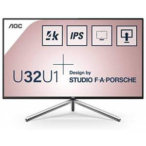 "AOC Porsche U32U1 31.5"" Widescreen IPS LED Black/Silver Multimedia Monitor (3849x2160/5ms/2xHDMI/DP/USB-C/4K/DisplayHDR 600)"