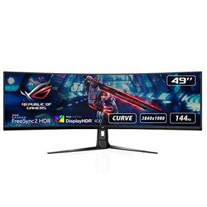 Asus ROG STRIX Curved XG49VQ, 49 Inch DFHD (3840 x 1080) Gaming Monitor, VA, Up to 144 Hz, 125% sRGB, DP, HDMI, USB 3.0, FreeSync 2 HDR, DisplayHDR 400, AuraSync