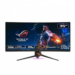 Asus ROG SWIFT PG35VQ, 35 Inch UWQHD (3440 x 1440) Gaming Monitor, Up to 200 Hz, G-SYNC Ultimate, Local Dimming, Quantum Dot, 90% DCI-P3, DP1.4, HDMI, USB 3.0, DisplayHDR 1000 Certified, AuraSync