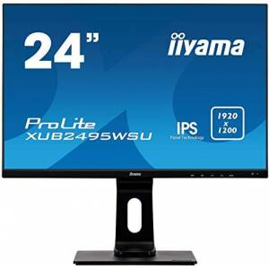 "IIYAMA XUB2495WSU-B1 24"" ProLite Height Adjustable Ultra Slim IPS LED Monitor with USB - Black"