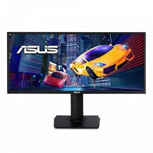Asus VP348QGL Monitor, 34 Inch, UWQHD (3440 x 1440), 21:9, HDR-10, FreeSync, Wall Mountable, Ergonomic Design, PiP/PbP, Flicker Free, Blue Light Filter