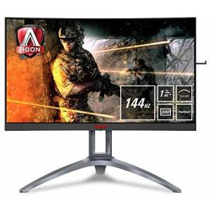 "AOC AGON AG273QCX 27"" Curved VA LED QHD (2560x1440) HDR 400 Freesync 144Hz Gaming monitor with Built-in speakers. (VGA, HDMI x 2, DisplayPort x 2, USB 3.0 x 4) - Black/Red"