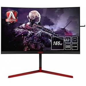"""AOC AGON AG273QCG 27"""" Curved LED QHD (2560x1440) G-Sync 165Hz 1MS Gaming Monitor with Built-in Speakers. (HDMI, Displayport, USB 3.0 x 4) - Black/Red"""