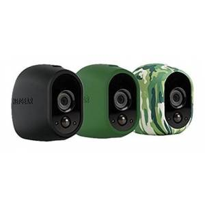 Arlo Certified Accessory VMA1200 Smart Home and Camo UV-Resistant Silicone Skins Pack for Wireless Wi-Fi CCTV HD Security Camera, Black/Green