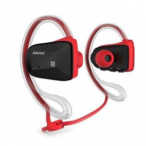 Jabees Wireless Headphones, Jabees BSport Bluetooth V4.1 Sweatproof Sports Headsets, In Ear Earbuds with Removable Earhook, Secure Fit Earphones with Microphone, Universal Compatibility, for Running Gym Goer (Red)
