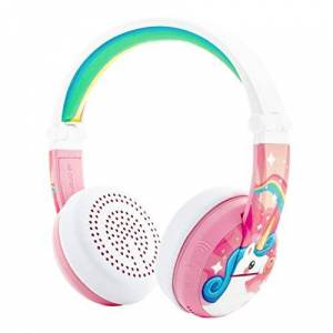 ONANOFF BuddyPhones WAVE - Waterproof Wireless Bluetooth Volume-Limiting Kids Headphones - 20-Hour Battery Life - 4 Volume Settings of 75, 85, 94db and StudyMode - Includes Backup Cable for Sharing - Pink