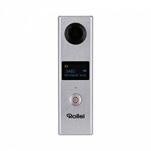 Rollei 360 Degree Camera - Powerful 360 Degree Camera with 2 Lenses for fully spherical VR videos, incl. WiFi, APP and Mini Tripod - Silver