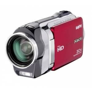 Sanyo VPC-SH1EXR-B Xacti SH1 Full HD Dual Camcorder with 10M Photos and HDMI - Red