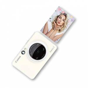 Canon Zoemini S Instant Camera & Photo Printer (Pearl White), Pocket-sized 8-megapixel camera printer with ring-light, selfie mirror and remote shutter. Instantly print sticky-backed photos on the go.