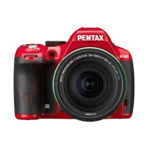 Pentax K-50 DSLR Camera with DA 18-135mm WR Lens Kit - Red (16MP, CMOS APS-C Sensor) 3 inch LCD