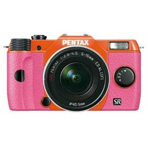 Pentax Q10 Compact System Camera with 5-15mm Lens Kit - Orange Body/Pink Grip (12MP) 3.0 inch LCD
