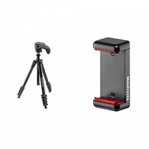 Manfrotto MKCOMPACTACN-BK, Compact Action Aluminium Tripod with Hybrid Head & MCLAMP, Universal Smartphone Clamp with Thread Connections, for iPhone with or without case, Compact Size, Black