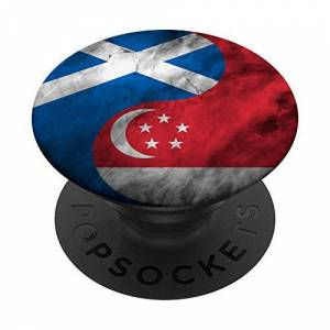 Family Heritage Gifts Scotland and Singapore Yin Yang - Singaporean Scottish Flag PopSockets Grip and Stand for Phones and Tablets