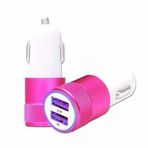 Ph26 ZTE Blade A460 Car Cigarette-Lighter Charger Dual USB Ports Ultra Fast X2 Car Charger 12/24 V Pink