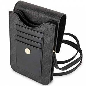 GUESS - 4G wallet case for phone with tassel, black.