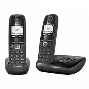 Siemens Gigaset AS405A DUO - Advanced Cordless Home Phone with Answer Machine and Nuisance Call Block - 2 Handsets, Glossy Black