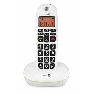 Doro PhoneEasy 100W DECT Cordless Phone with Amplified Sound and Big Buttons (Single Set/White) [UK and Irish Version]