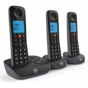 BT Essential Cordless Home Phone with Nuisance Call Blocking and Answering Machine, Trio Handset Pack, Black