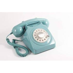GPO 746 Rotary 1970s-style Retro Landline Phone - Curly Cord, Authentic Bell Ring - Blue