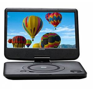 """Denver 10.1"""" Multiregion Portable DVD Player with Rechargeable Battery, USB & Swivel Screen"""