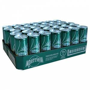 Perrier Sparkling Natural Mineral Water Cans, 35 x 250 ml