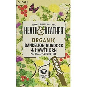 Heath & Heather Organic Dandelion Burdock and Hawthorn Teabags (Pack of 6, Total 120)
