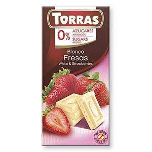 Torras No Added Sugar White Chocolate and Strawberry Bar, 75g