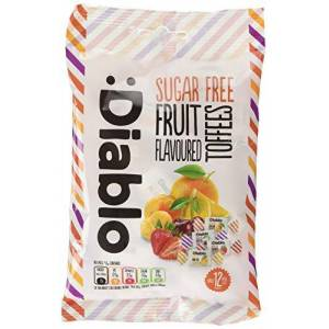 Diablo Sugar Free Fruit Flovoured Toffees 75g Gluten Free Only 12 Calories Per Sweet Lot of 4, DL89