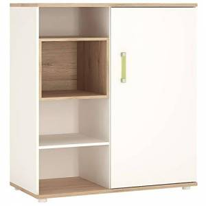 Furniture To Go 4KIDS Low Cabinet with shelves (Sliding Door) Light Oak and white High Gloss with lemon handles, 1055x524x1157 cm
