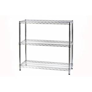 ARCHIMEDE System Modular Shelf Three Shelves, Metal, Chrome, 91x 36x 90cm