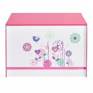 Worlds Apart Flowers and Birds Kids Toy Box - Childrens Bedroom Storage Chest with Bench Lid by HelloHome