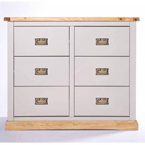 Cabinet Bits Grey Body and Waxed Top 3 Plus 3 Drawer Chest GWCD109, One size