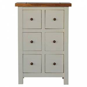Artisan Furniture 2 Toned Cabinet with 6 Drawers, Wood, Granary Top and White Painted Base, 50x30x75 cm
