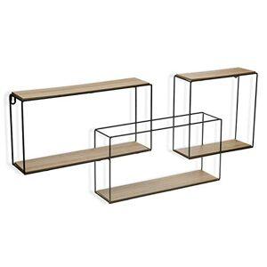 SuskaRegalos Nagpur Decorative Hanging Storage Shelf 3 Shelves, Metal and Wood, 33 x 10 x 75 cm