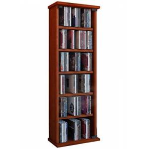 "VCM Shelf Cabinet Storage Unit CD DVD Media Furniture Stand Tower Wood Glass Door ""Vetro"" Cherry Wood"
