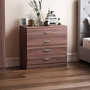 Vida Designs Walnut Chest of Drawers, 4 Drawer With Metal Handles and Runners, Unique Anti-Bowing Drawer Support, Riano Bedroom Furniture